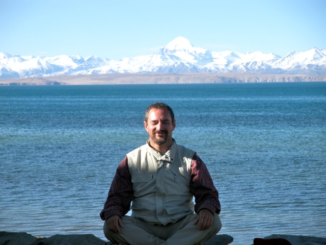 Manny sitting by Lake Manosarovar