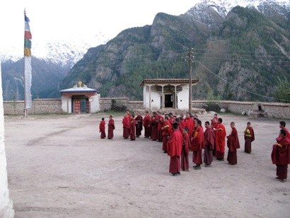 Monks in Himalayas